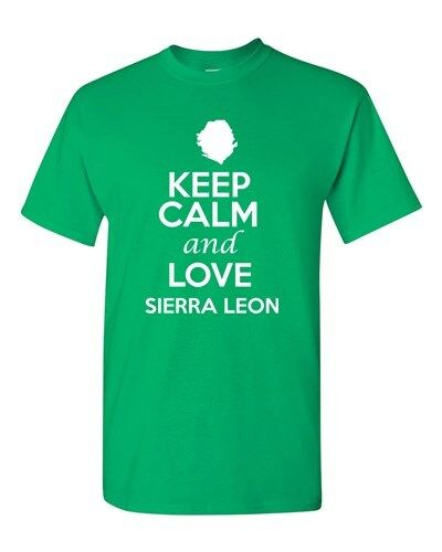 Keep Calm And Love Sierra Leone Country Patriotic Novelty Adult T-Shirt Tee
