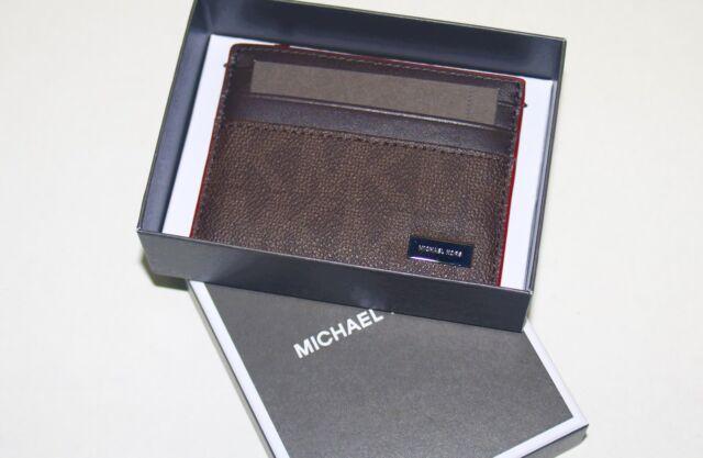 c3046ed0cec3 Michael Kors Mens Jet Set PVC Leather Tall Card Case Wallet Brown ...