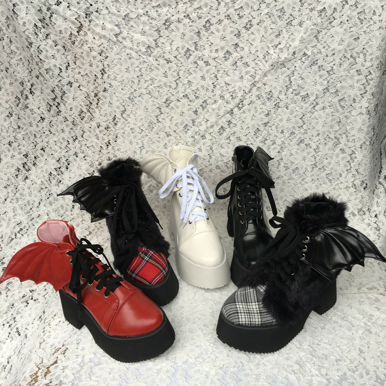Lolita Punk Tea Party Badydoll Wings Cosplay Bootie Schuhes Custom made 5221
