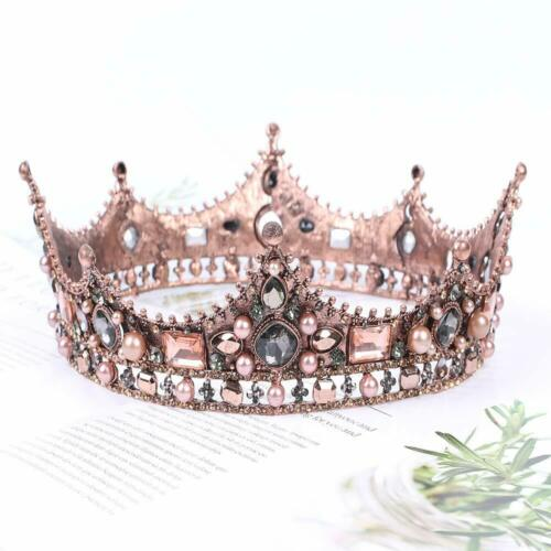 Wedding Queen Crowns for Womens Baroque Crowns Tiaras Crystal Pearl Bride Combs