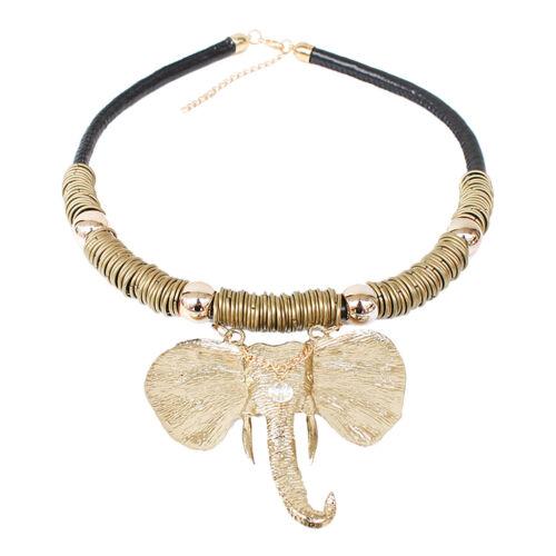 Boho Modeschmuck Retro Kristall Elefanten Form Anhänger Clavicle Halskette