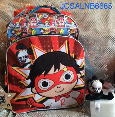 """RYAN'S WORLD 18"""" BACKPACK WITH ATTACHED CAPE /& 4"""" CLIP ON PLUSH COMBO PANDA ❤️"""