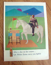 1959 Whisky Whiskey White Horse Ad  Golfing Theme