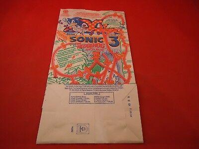 Sonic The Hedgehog 3 Sega Genesis Mcdonald S Happy Meal Bag New