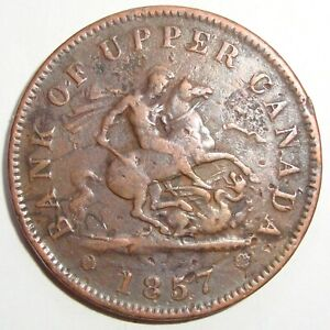 1857 BANK OF UPPER CANADA 1 ONE PENNY DRAGONSLAYER TOKEN COIN