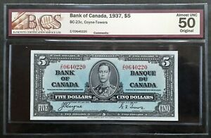 1937-Bank-of-Canada-5-Dollars-Coyne-Towers-Z-C0640220-BCS-AU-50-Original-BC-23c