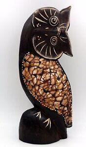 Idee Cadeau Hibou.Details Sur Chouette Hibou De Collection En Bois Et Coquille D Oeuf Idee Cadeau Deco 25 5 Cm