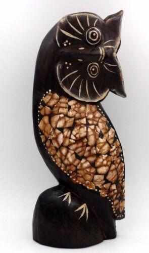 Chouette hibou de collection en bois et coquille d/'oeuf idée cadeau déco 25,5 cm