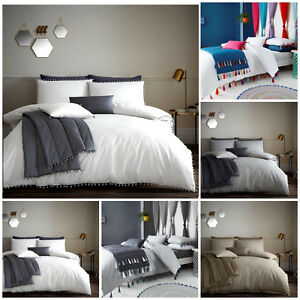 Luxury New POM POM Poly-cotton Duvet Cover With Pillowcases Single Double King