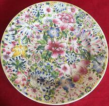 Mille Fleur Millefleurs Enamel Decorated Plate Bearing 6 Character Qianlong Mark