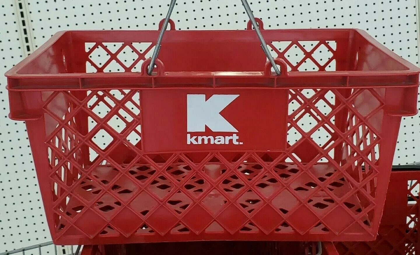 VINTAGE RED KMART Dept Store  PLASTIC HAND SHOPPING BASKET COLLECTIBLE