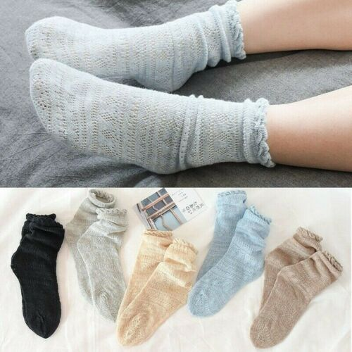 Women Slouch Socks Cotton Linen Japanese Hollow Out Retro Rib Ruffle Frilly