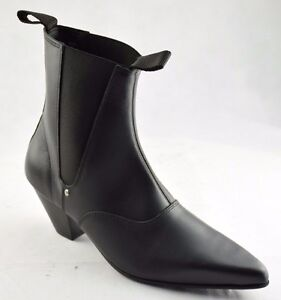 Steel Ground Black Leather Beat Boots Cuban Heel Chelsea Ankle Boot ... a2edfa6a454f