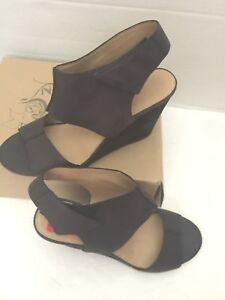 Details about Nine West Vintage America Collection Yarrow Black Leather Ankle Wedge Shoes 11