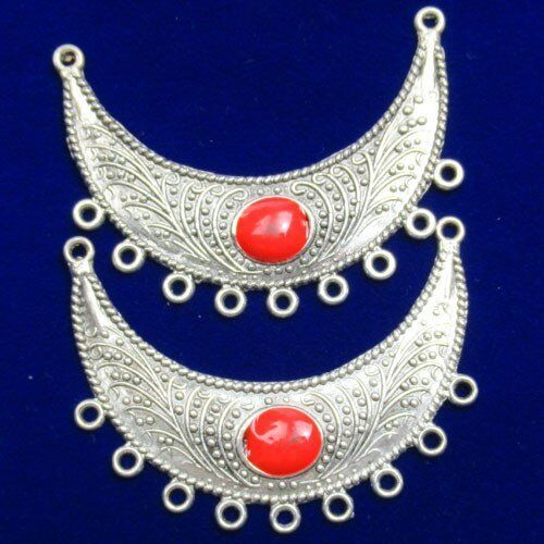 2Pcs Carved Tibet Silver Red turquoise demi-lune pendentif perles 56x20mm JC076