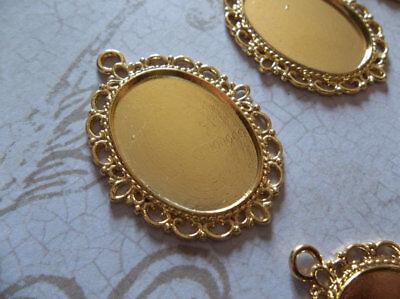 Silver Plated Brass 25X18mm Settings Oval Pendants Fancy Bezel Frames Qty 6