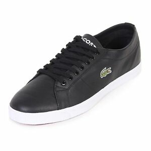 45befe3f4aa7 Image is loading Lacoste-Mens-Riberac-Leather-Trainers-Black-Various-size