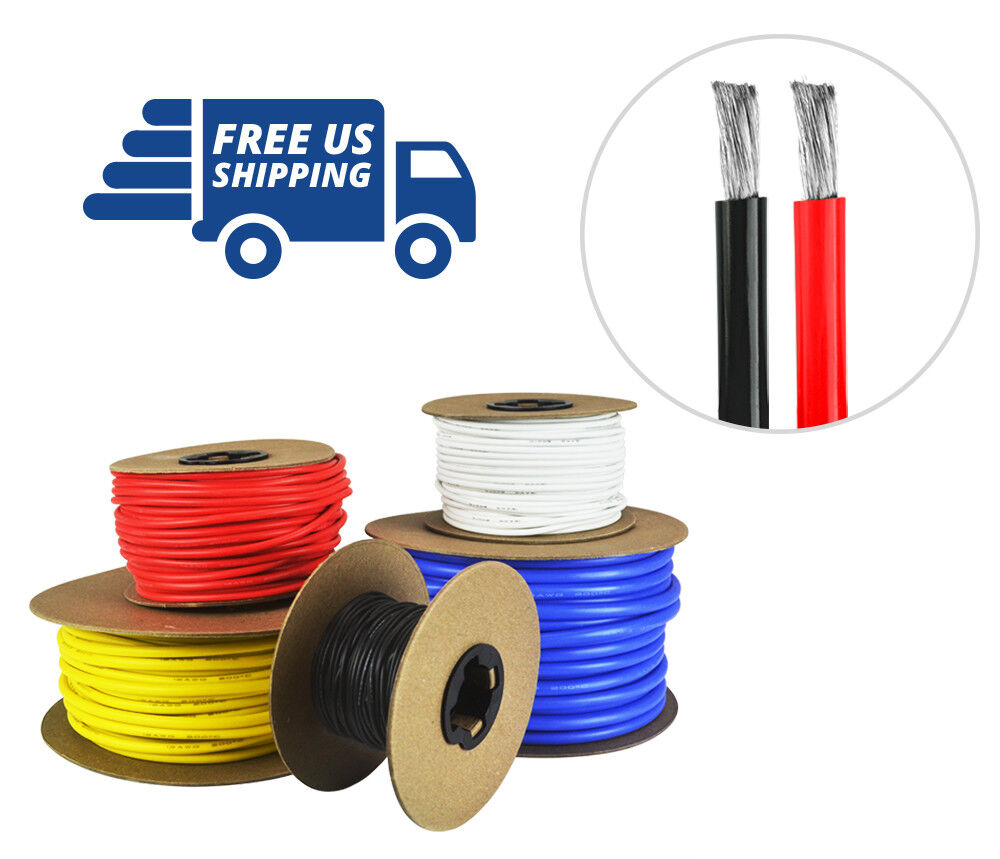 Calibre 6 AWG Cable de Silicona-fino de cobre estañado Strand-cada 50 ft (approx. 15.24 m) Rojo Y Negro