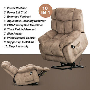 Power-Lift-Chair-Recliner-Overstuffed-Fabric-20-034-W-Padded-Seat-Lounge-Sofa-w-RC