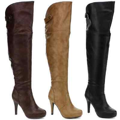 90ffa4cdf0e New Women's Over The Knee High Heels Boot Black Brown Taupe DBDK ...