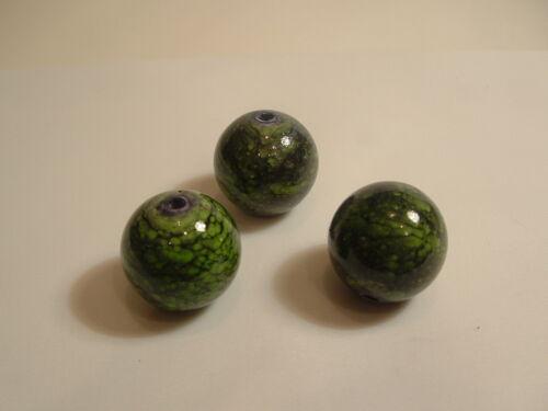 5 x 22mm acrylique perles rondes Vert bna26 Speckle