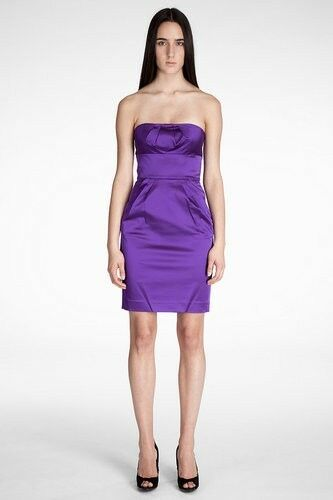 DVF Diane Von Furstenberg FIORENZA Satin Strapless Dress lila 2-US 6-UK