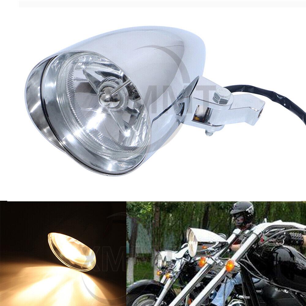 Motorcycle Parts Automotive 12v Motorcycle Bullet Headlight Light Chrome For Harley Davidson Chopper New