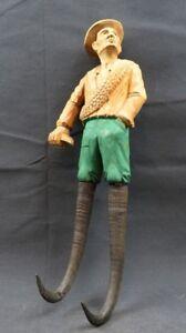 Ancien 1900 Allemand Forêt Noir Sculpté Bois Figuratifs Chamois Cornes Crochet