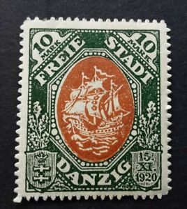 Germany-Danzig-1921-Constitution-10M-brown-green-MLH-stamp-SG53-rare