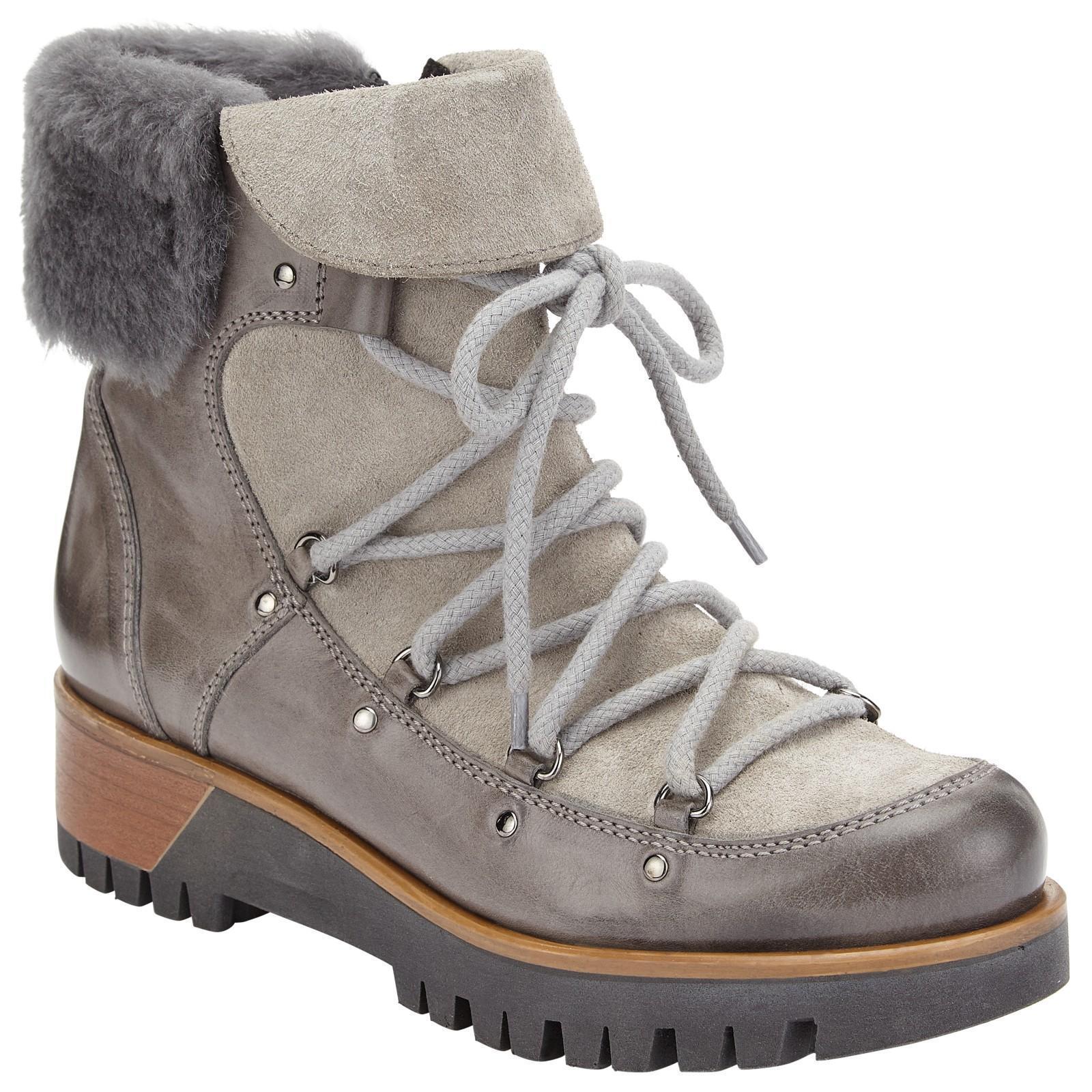 John Cuero Lewis Filomena Gamuza Cuero John Cremallera Excursionista Tobillo botas De Invierno gris 6 & 8 026116