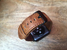 Quality Vintage Orange Leather Watch Strap Band for Apple Watch 38mm Series 1/2