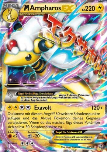 28//98 M Ampharos EX Pokemon XY Karte Ewiger Anfang