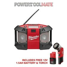 Milwaukee C12JSR 12V Compact Jobsite Radio with Torch and 1.5Ah Battery