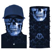 Tactical Black Skull Heads Face Shield Sun Mask Balaclava Neck Gaiter