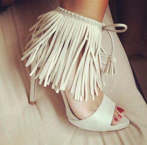 ZARA ECRU Schuhe FRINGED HIGH HEEL SANDALS Schuhe ECRU WITH TASSEL EUR 36, US 6, UK 3 74e8d9