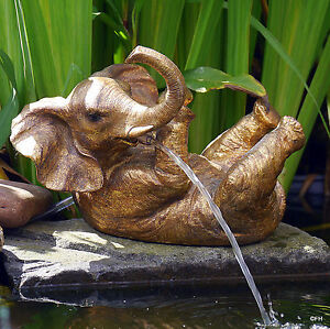 Gartenfigur wasserspeier elefant garten deko figur liegend for Eisenkugel deko