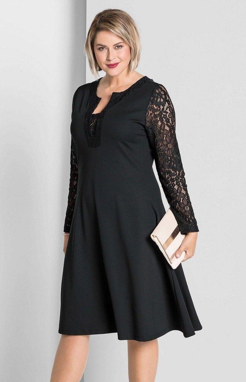Kleid Gr.48-50-52-56-58 Abendkleid Festlich Damen knielang Spitze schwarz Sheego