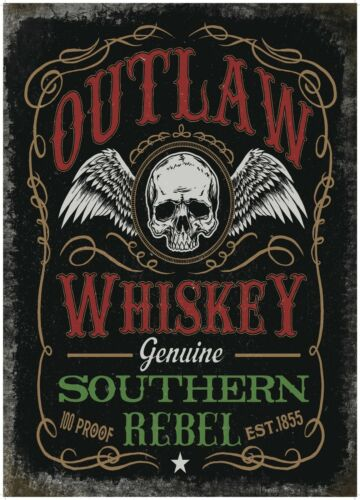 Outlaw Whiskey Pub Bar Man Cave Biker Shed Old Advertising Medium Metal Tin Sign