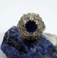 Toller Ring in 585/14k 51 (16,2 mm Ø) Gold Weißgold Saphir 24 Brillanten 0,84ct