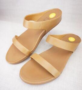 329ba6d9890e79 Details about FitFlop Banda Tan Open Toe Leather Thong Sandals SUPERCOMFF  43 Women s US 11
