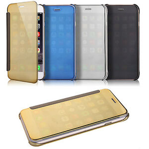 Mirror-Shiny-View-Glossy-Reflective-Flip-Hard-Case-Cover-For-Various-phones