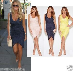 Ladies-Amy-Childs-Style-Lace-Dress-Wrap-Vintage-Bodycon-Party-TOWIE-Size-8-10-12