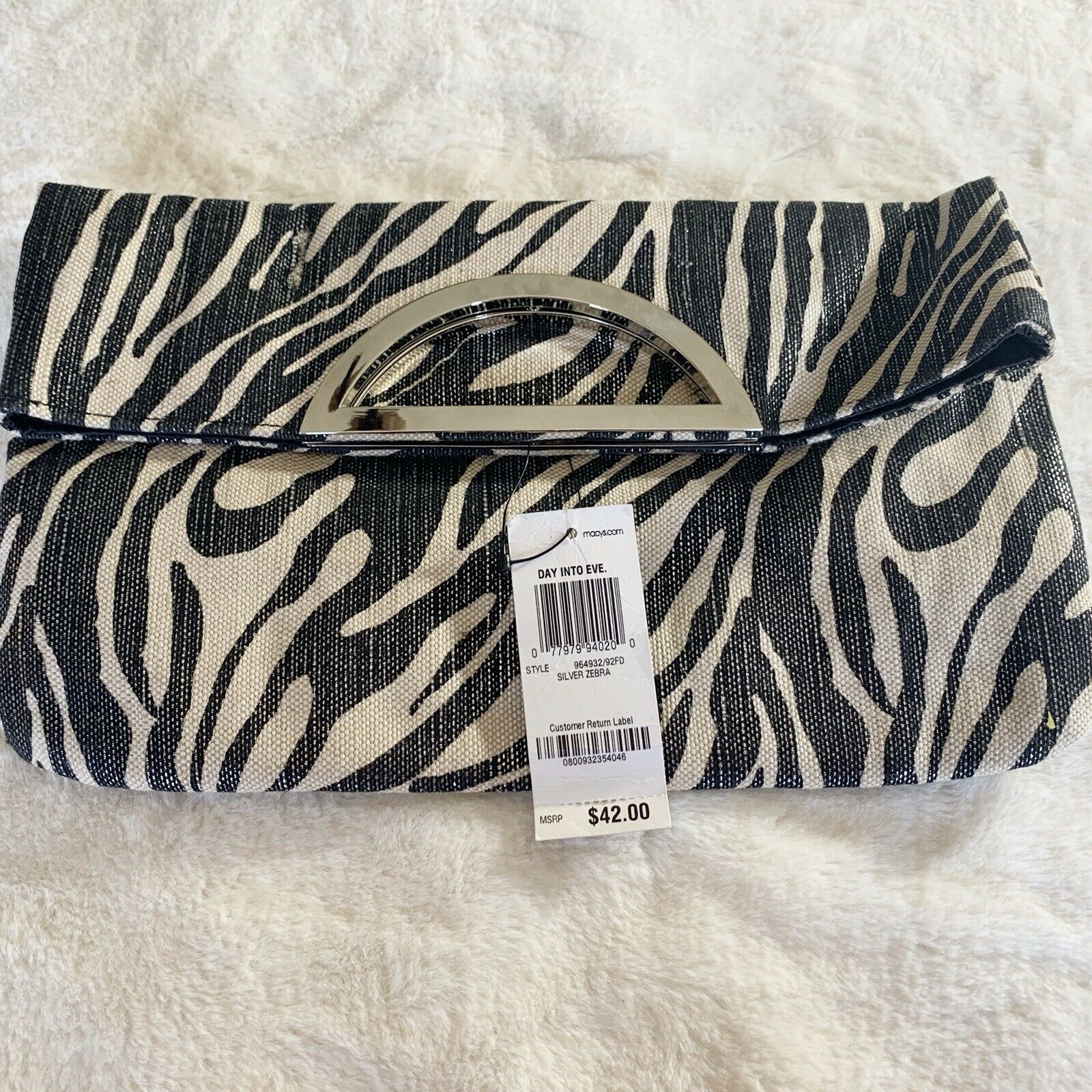 Style & Co NWT Silver Zebra Print Day/Evening Bag Beautiful Retail