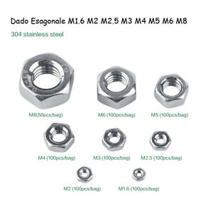 50-100pz-Hex-Nuts-m1-6-m2-m2-5-m3-m4-m5-m6-m8-m10-ss304-screws-bolts-nuts