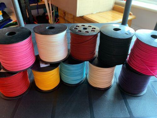 Cable de gamuza cuero 5M Abalorios Hilo Encaje Plano Fabricación de Joyas Artesanía 3mm