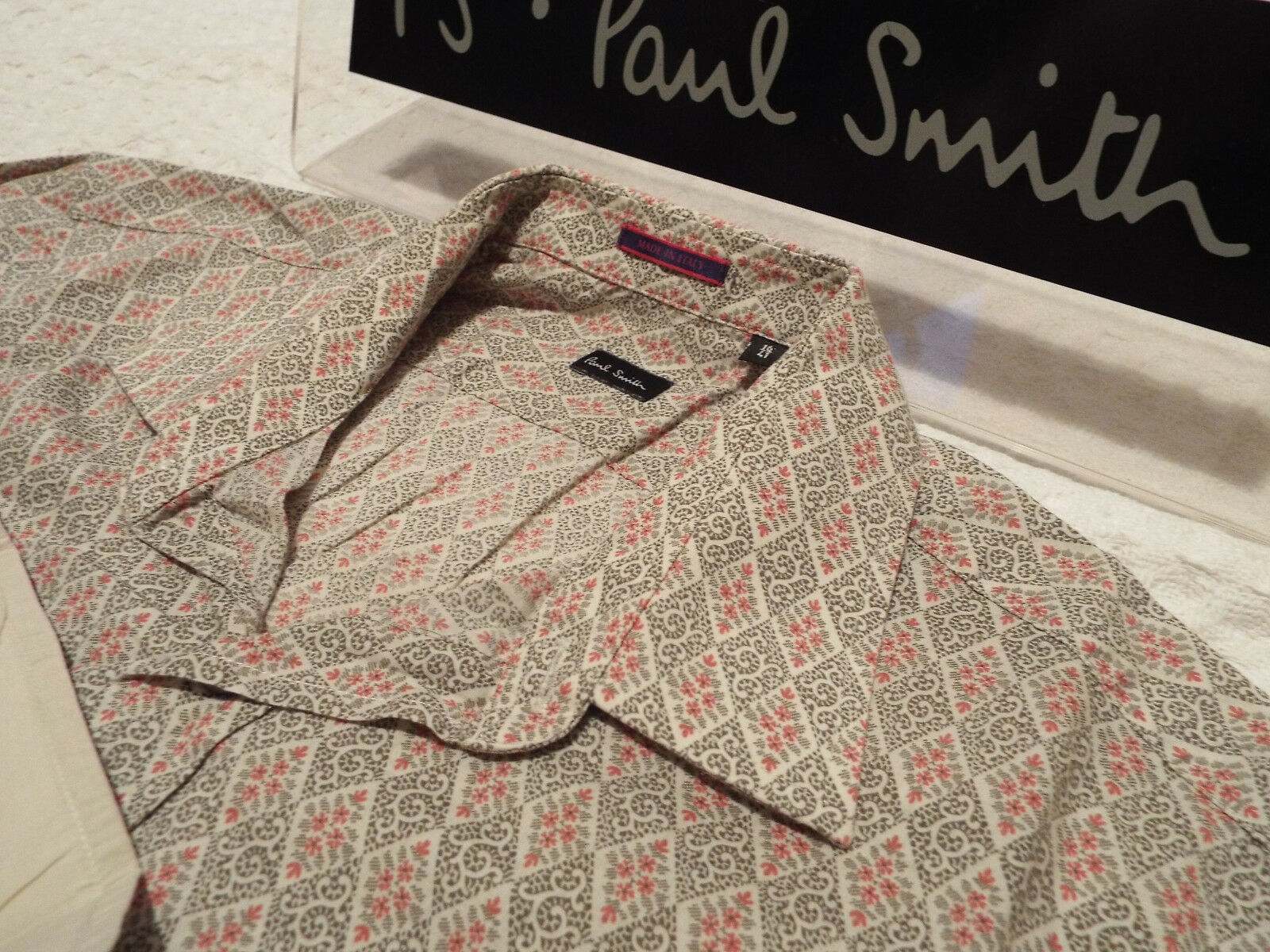 PAUL SMITH Mens Shirt  Size 16  (CHEST 42 )  RRP + FLORAL DIAMOND STYLE
