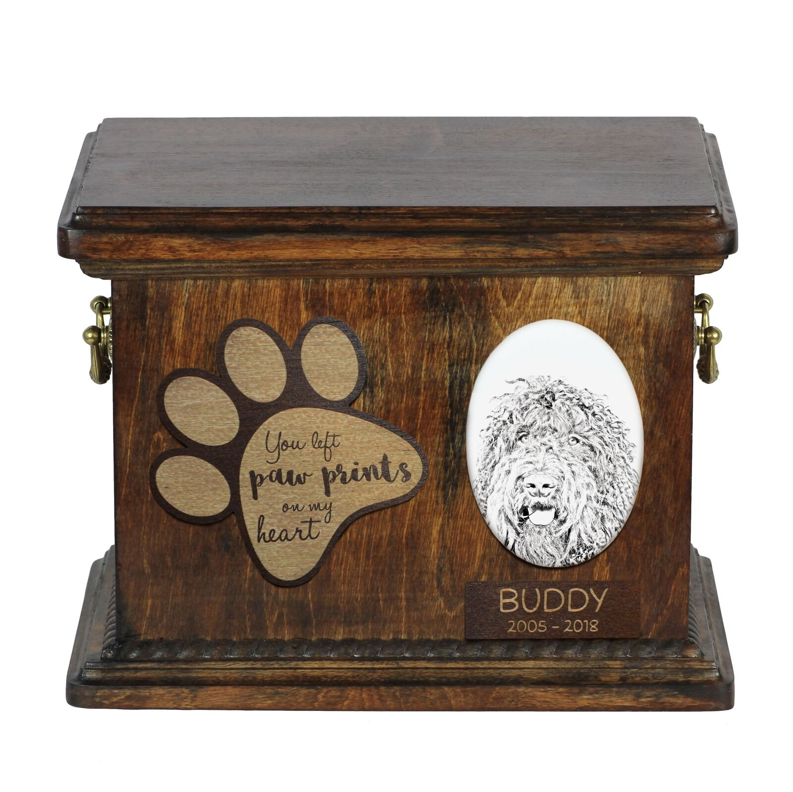 Barbet - Urn for dog's ashes with ceramic plate and description, Art Dog