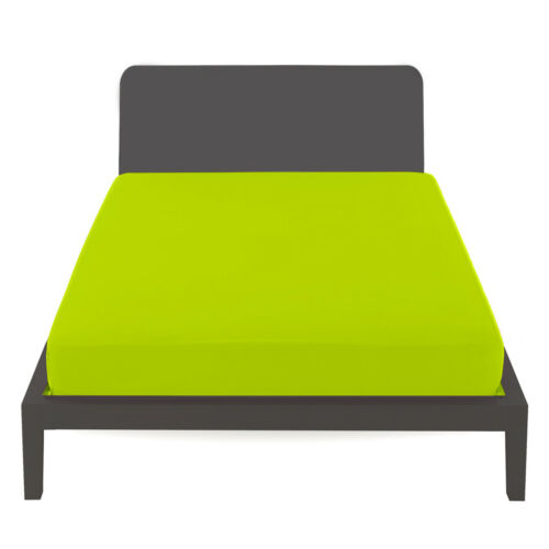 Sheet under with angles 100/% Cotton-Solid Acid Green-Made in Italy