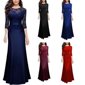 Women S 3 4 Sleeve Bridesmaid Dress Elegant Evening Gown Party Dinner Long Dress Ebay
