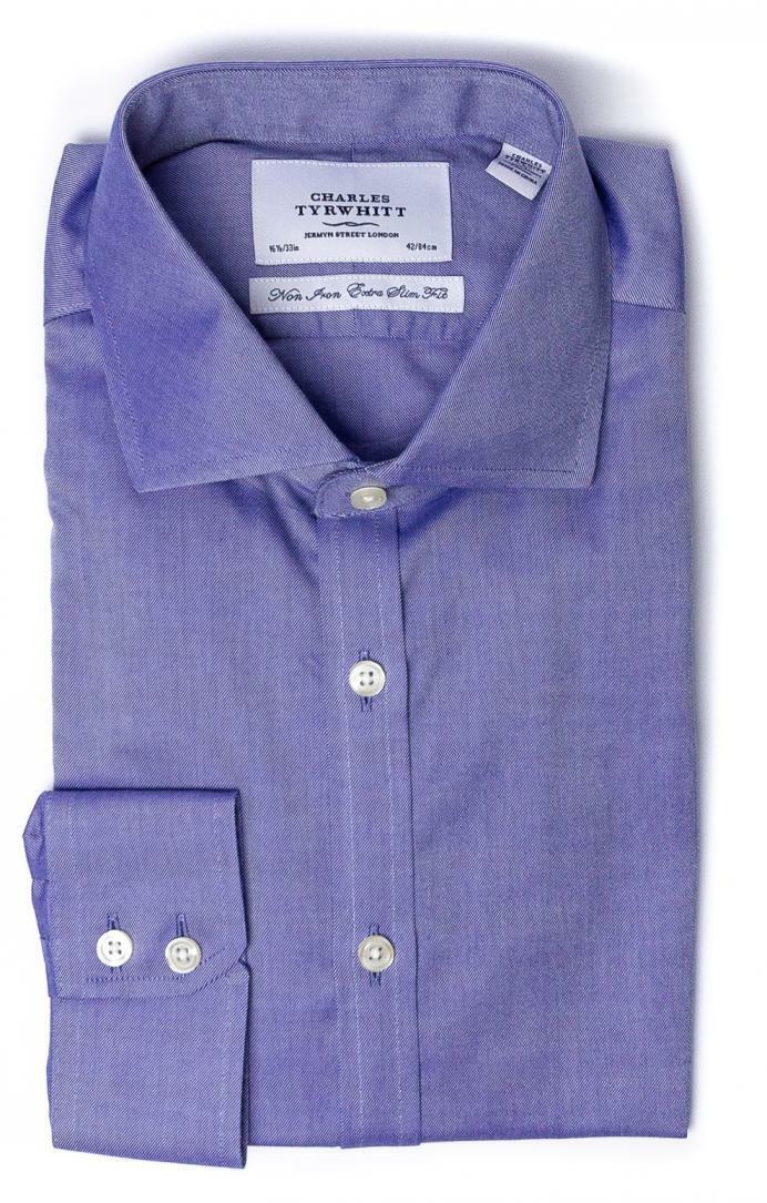 CHARLES TYRWHITT Extra Slim Non-Iron Mid-bluee Oxford Stretch Shirt